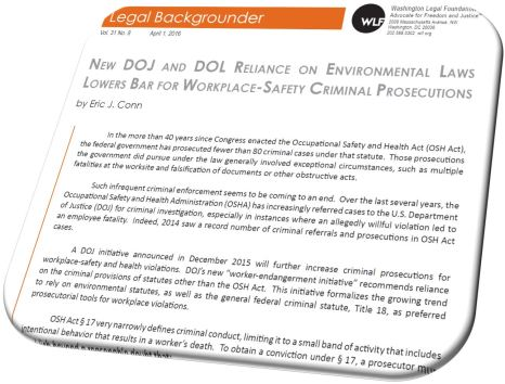 New DOJ and DOL Reliance on Environmental Laws Lowers Bar