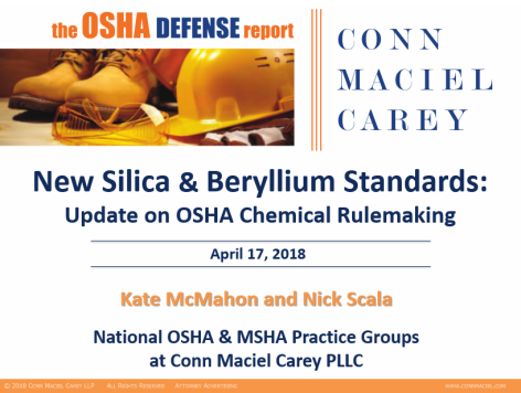 New OSHA Silica and Beryllium Standards: Update on OSHA Chemical