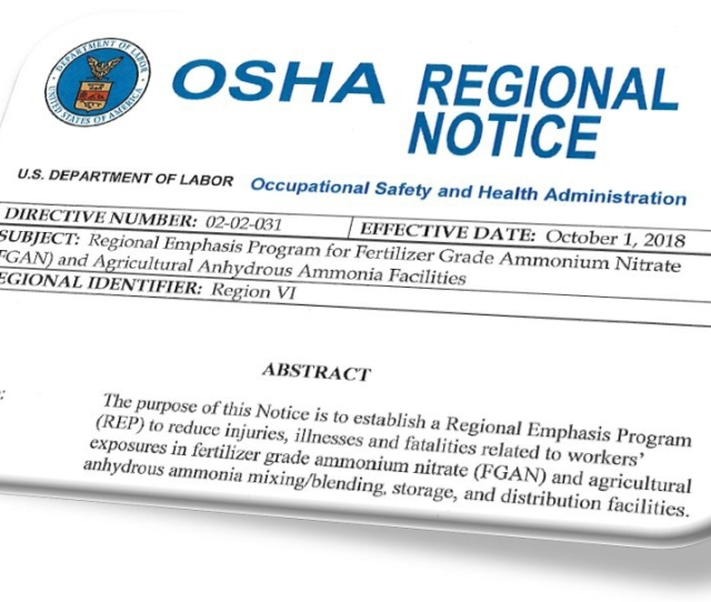 Oshas New Emphasis Program For Fertilizer Grade Ammonium Nitrate And Anhydrous Ammonia The Osha Defense Report