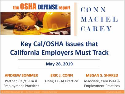 The OSHA Defense Report – OSHA Updates from Conn Maciel